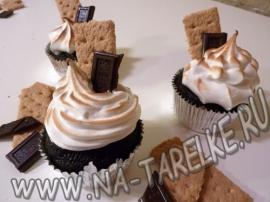 Шоколадно-кофейные кексы с зефиром